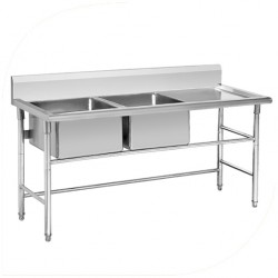 Double Bowl Stainless Steel Sink with Drainboard
