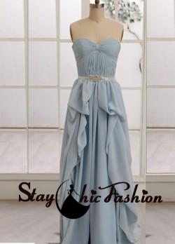 Blue Pleated Bowknot Bust Ruffled Long Chiffon Prom Homecoming Dress 2015 [sc819] – $120.0 ...