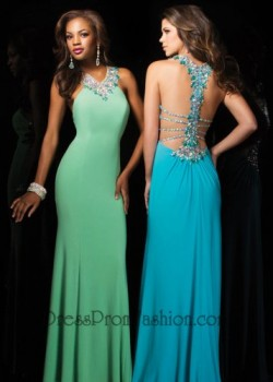 Green Long Wide Jeweled Neckline Evening Gown [Green Long Evening Gown] – $170.00 : Fashio ...
