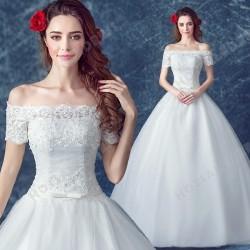 Luxurious Lace Short-sleeved Strapless Floor-Length Wedding Dress 2016 New – Wedding Dresses