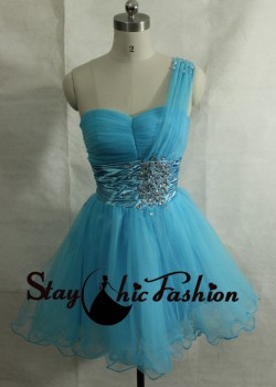 Beaded Satin Empire Waist Blue Ruched Bust One Strap A Line Party Dress 2015 [sc684] – $15 ...