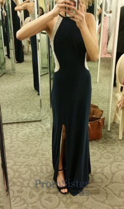 Black Beaded Illusion Sides Long Halter Jersey Prom Dress – $185.00