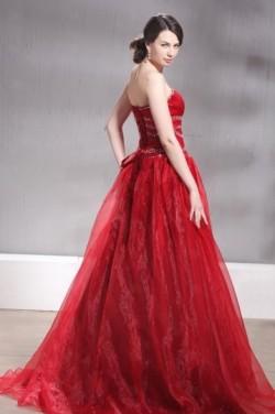 Vintage robe de cérémonie rouge buster cœur dos laçage – JMRouge.fr
