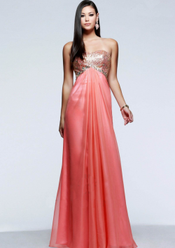 US$141.99 2015 Open Back Ruched Chiffon Floor Length Coral Strapless