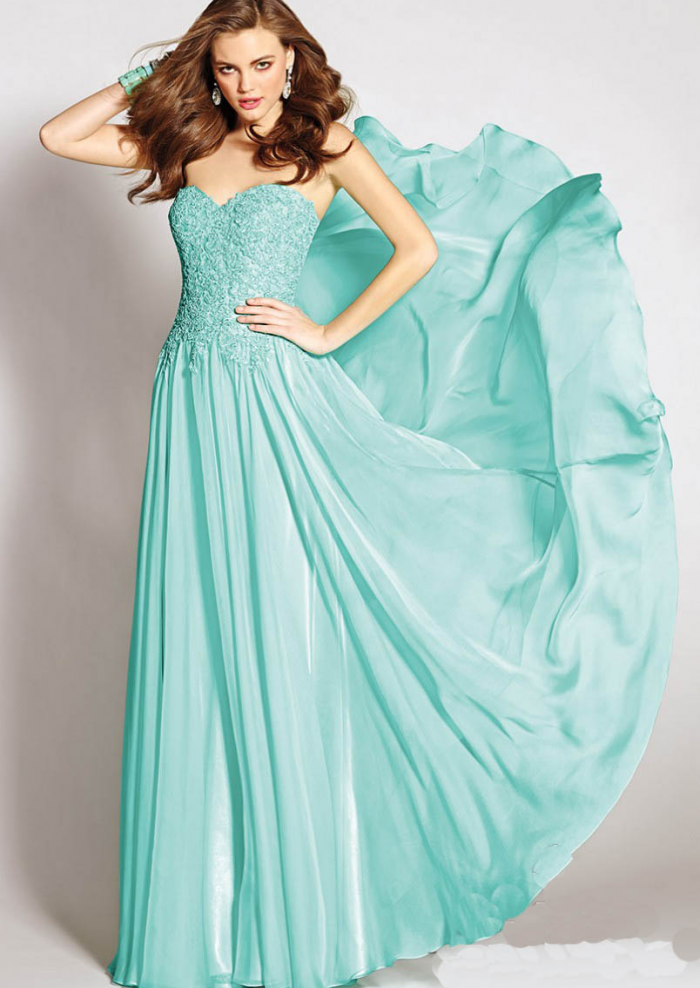 US$145.99 2015 Zipper Sweetheart Chiffon Blue Appliques Floor Length