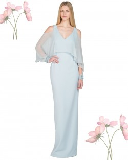 Light Blue Cold-Shoulder Cape-Sleeve Evening Gown Back Slit [EG1914] – $120.00 : Lady in P ...