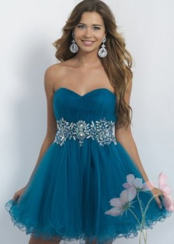 Sweet Strapless Sea Blue Elegant Ruched Top Beaded Waist Short Party Dress [Intrigue 111 Sea Blu ...