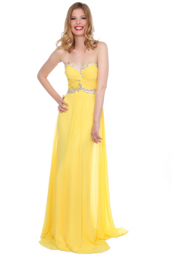 US$136.99 2016 Crystals Yellow Ruched Sweetheart Chiffon Floor Length Sleeveless