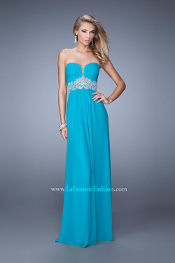 US$155.99 2015 Sweetheart Ruched Zipper Appliques Sleeveless Chiffon Blue