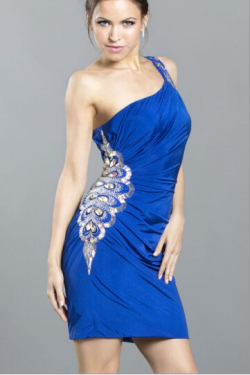 US$165.99 2016 Crystals Sleeveless Blue Sheath One Shoulder Chiffon