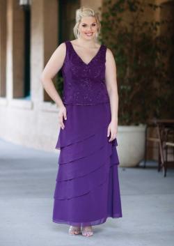 US$162.99 2015 Tiers Purple Ruched Sleeveless Chiffon V-neck Floor Length