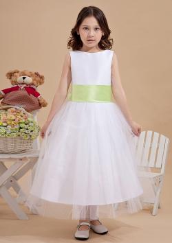 US$103.99 2015 Tulle Straps Bow Flower White Ribbon Zipper Sleeveless Ruched Tea Length