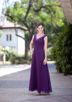 US$167.99 2015 V-neck Purple Sleeveless Chiffon Floor Length Ruched