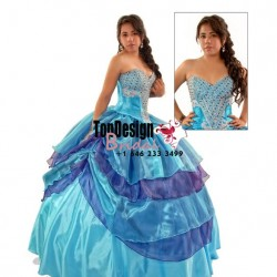 Beautiful beaded aqua and purple taffeta corset puffy new 2017 sweet 15 quinceanera dress