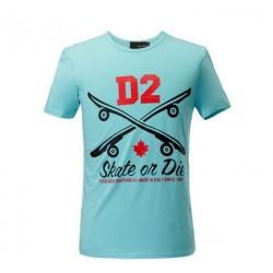 Dsquared2 Men D110 D2 Skate On Die Short Sleeves T-Shirt Blue