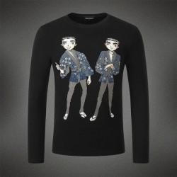 Dsquared2 Men DL02 Cartoon Twins Long Sleeves T-Shirt Black