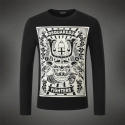Dsquared2 Men DL06 Fighters Print Long Sleeves T-Shirt Black