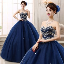 2017 Navy Blue Quinceanera Dress Formal Prom Party Wedding Dresses Ball Gown