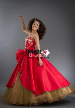 2017 New Beaded Bowknot Sweet 15 Ball Gown Red and Gold Satin Organza Prom Dress Gown Vestidos D ...
