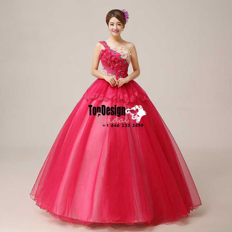 2017 New Beaded Flower Sweet 15 Ball Gown One-shouler Red Satin Tulle Prom Dress Gown Vestidos D ...