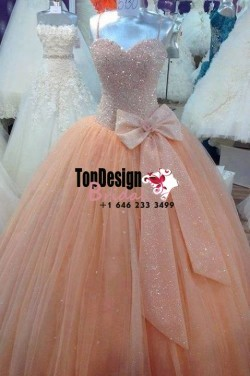 2017 New Beaded Sweet 15 Dress Peach Vestidos De Fiesta Taffeta Tulle Bowknot Quinceanera Ball Gown