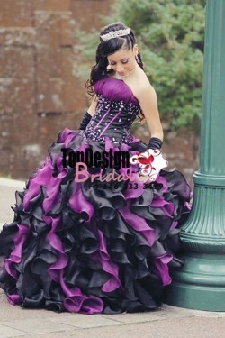 2017 New Beading Crystals Sweet 15 Ball Gown Black and Purple Satin Organza Prom Dress Gown Vest ...