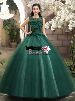 2017 New Sweet 15 Ball Gown Dark Green Satin Tulle Prom Dress Gown Vestidos De 15 Anos