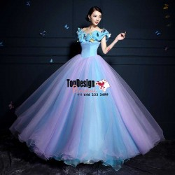 2017 New Sweet 15 Ball Gown Lilac and Blue Satin Tulle Prom Dress Gown Vestidos De 15 Anos