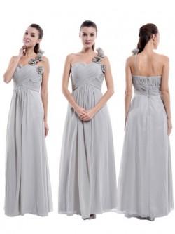 One Shoulder Chiffon Floor-length Flower(s) Women Bridesmaid Dress in UK