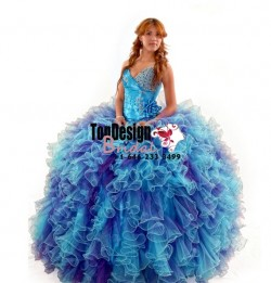 2017 stunning blue and purple beaded hand-made flower tulle taffeta puffy sweet 15 quinceanera dress