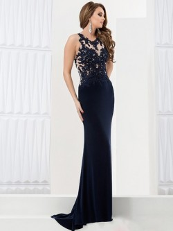 Trumpet/Mermaid Dark Navy Tulle Silk-like Satin Appliques Lace Backless Sweep Train Prom Dress in UK