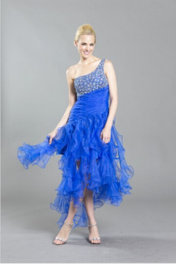 US$143.99 2016 Tulle High Low Ruffled One Shoulder Crystals Lace Up Blue Sleeveless