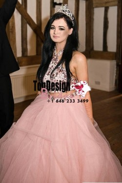 Wholesale 2017 Sweet 15 Dress Two Piece Pink Halter Top Beaded Bodice Ball Gown Tulle Quinceaner ...