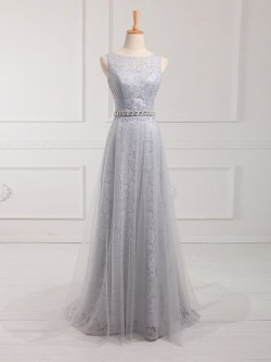 Custom Sheath/Column Scoop Neck Lace Tulle Sweep Train Beading Prom Dresses in UK