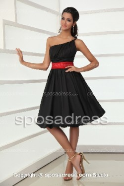 Enchanting Black One Shoulder A-line Cocktail Dress With Red Sashes – Sposadress.com