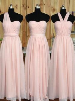 Sweetheart Chiffon Floor-length Ruffles Pretty Pink Bridesmaid Dress in UK