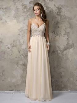 V-neck Champagne Chiffon Beading Floor-length Spaghetti Straps Prom Dresses in UK