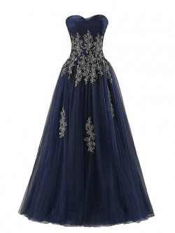 Wholesale A-line Sweetheart Tulle Floor-length Appliques Lace Dark Navy Prom Dresses in UK