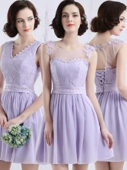Scoop Neck Lavender Chiffon Tulle Appliques Lace Short/Mini Bridesmaid Dress in UK