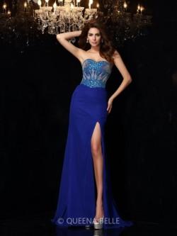 Sheath/Column Sweetheart Sleeveless Sweep/Brush Train Beading Chiffon Dresses – Evening Dr ...