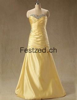 A-Linie Bodenlang Gold Chiffon Abendkleider – Festzed.CH