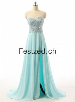 A-Linie Bodenlang Herzausschnitt Blau Chiffon Abendkleider – Festzed.CH