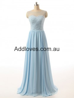 Fabulous A-Line Floor-Length Blue Chiffon Prom Dresses at addloves.com.au