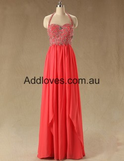 Fabulous A-Line Halter Watermelon Long Prom Dresses at addloves.com.au