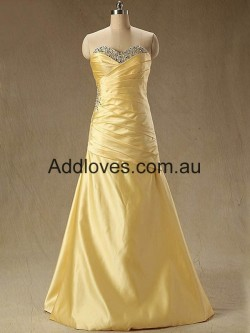 Fantastic A-Line Floor-Length Gold Chiffon Prom Dresses at addloves.com.au