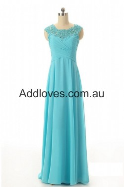 Simple A-line Long Beading Blue Chiffon Prom Dresses at addloves.com.au