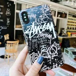 Coque iphone lineup 5.8 6.1 6.5 inch marque luxe stussy