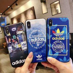 Adidas coque iphone x plus de marque cuir coin bouton