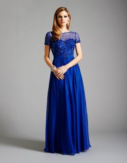 US$173.99 2015 Zipper Short Sleeves Blue Crystals Beading Chiffon Tulle Floor Length