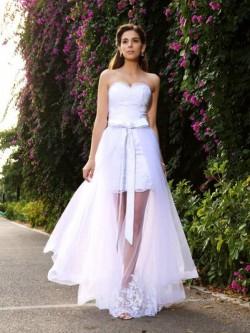 Sereia Sem Mangas Longo Coração Apliques Tule Vestido de Noiva
